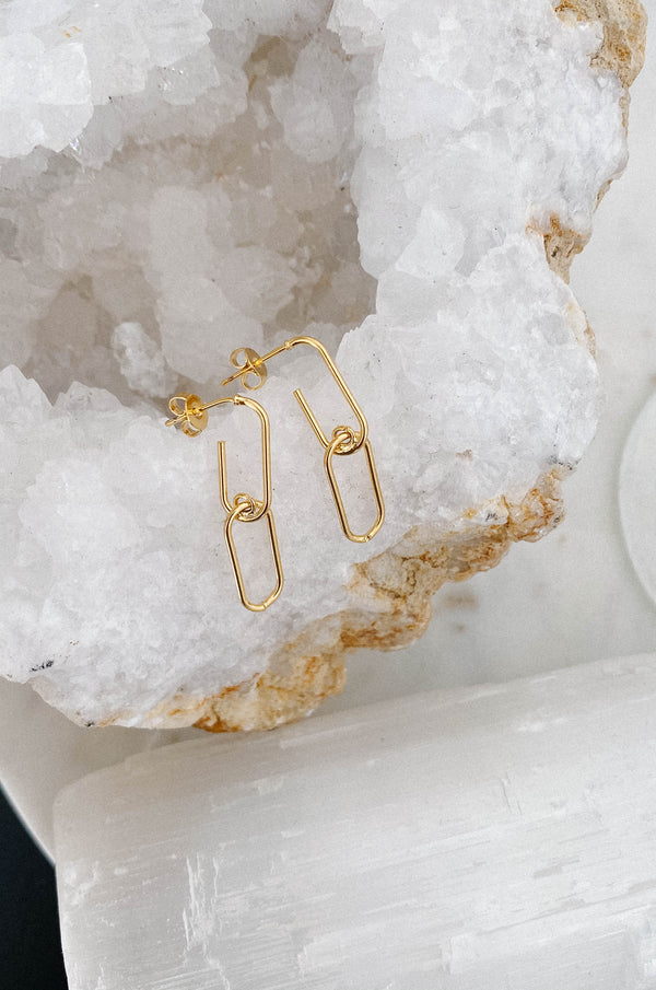 14K Oval Chain Earrings
