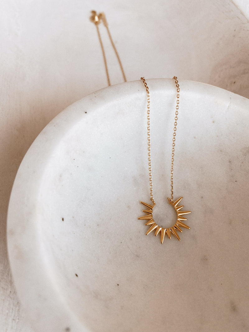 Delia 14K Gold Dipped Sun Burst Necklace
