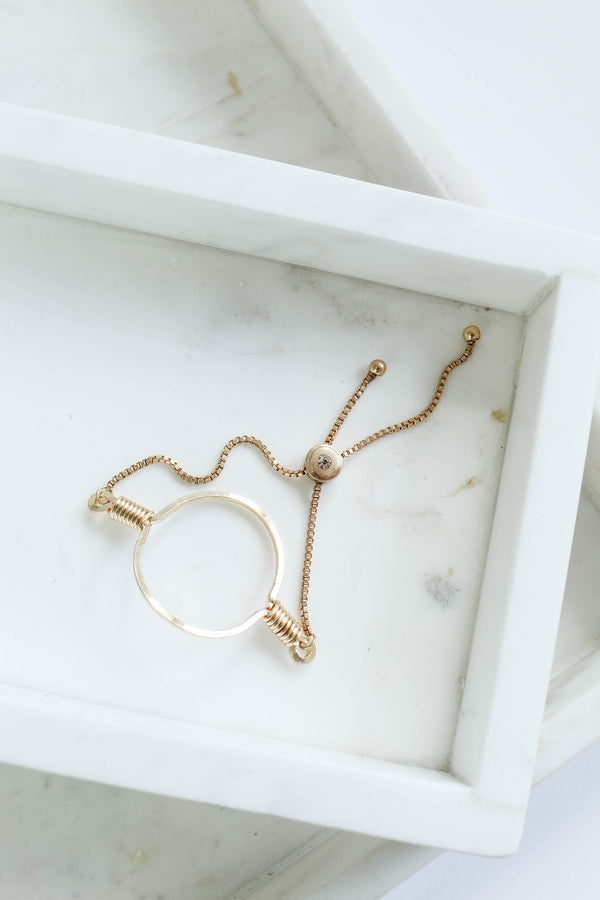 Open Circle Gold Chain Bracelet