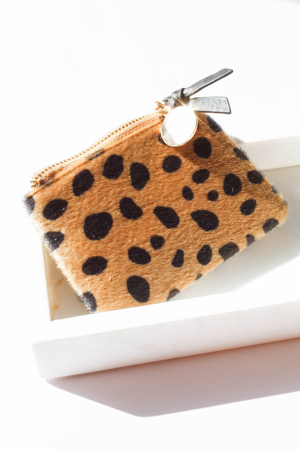 Leopard Spot Faux Fur Coin Purse