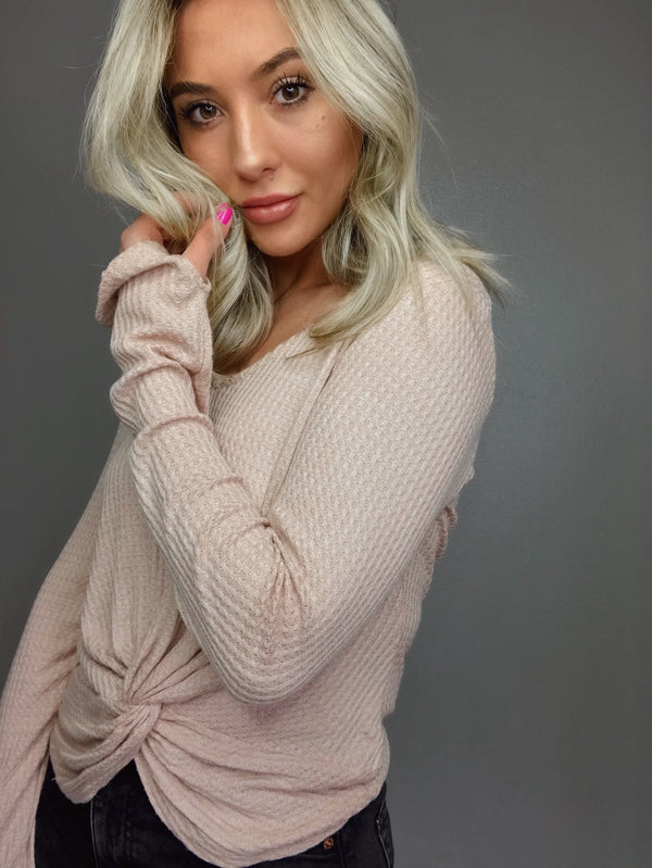 Stay In Bed Blush Nude Waffle Long Sleeve Top