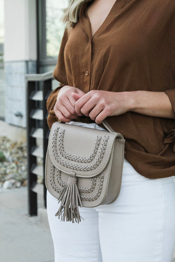 Mini Taupe Crossbody Bag