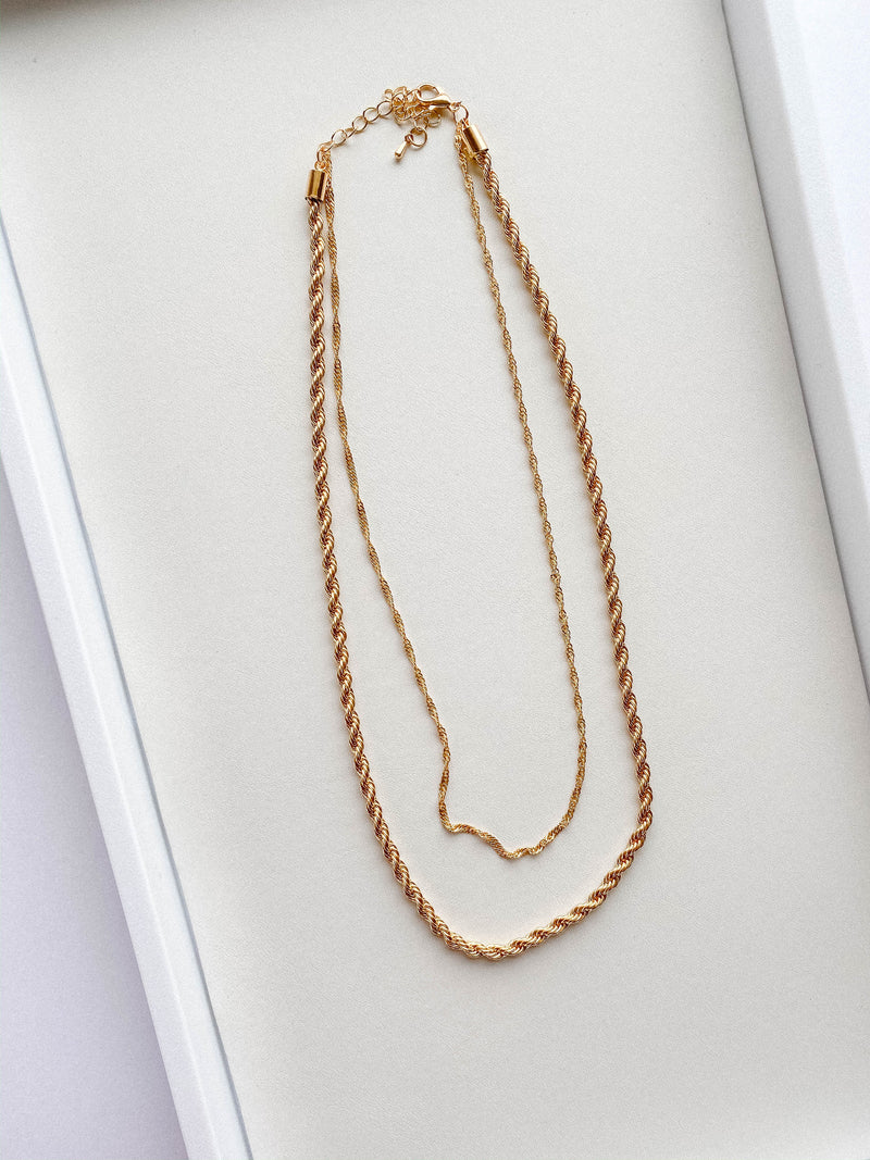 In a Twist Double Chain Necklace