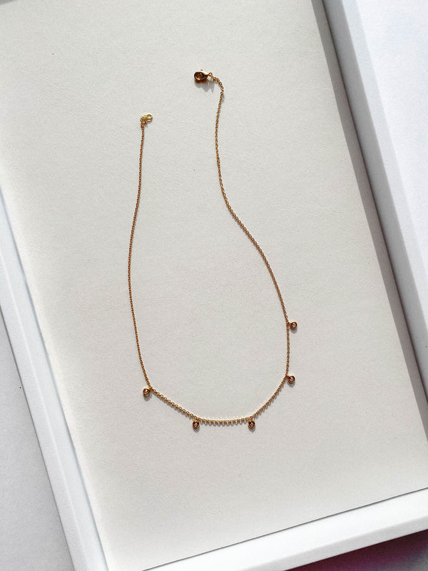Delicate Crystal 18K Gold Necklace