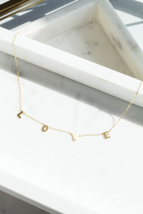 Love Dainty Gold Charm Necklace