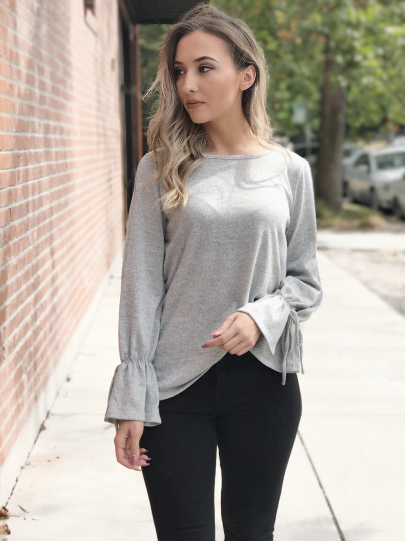 MARIANNA GREY KNIT BELL SLEEVE TOP