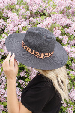 Weekend Babe Black Leopard Hat