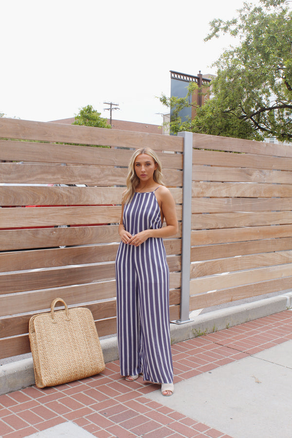 Cabo Blue Striped Jumpsuit