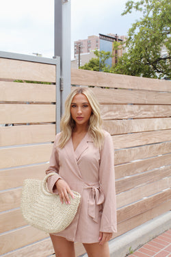 IT GIRL Blush Taupe Jacket Romper