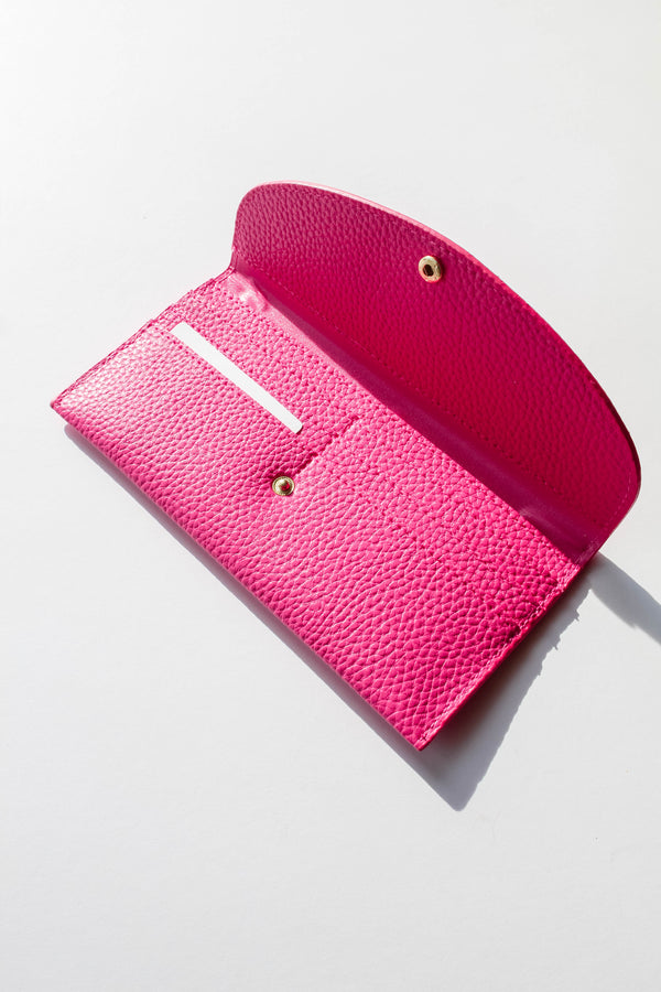 Faux Leather Fuchsia Long Wallet