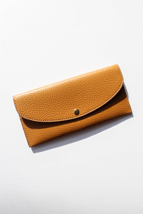 Faux Leather Tan Long Wallet
