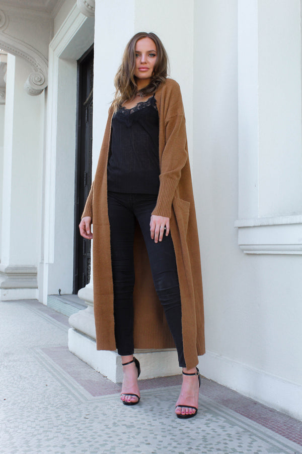 Tiramisu Brown Maxi Cardigan