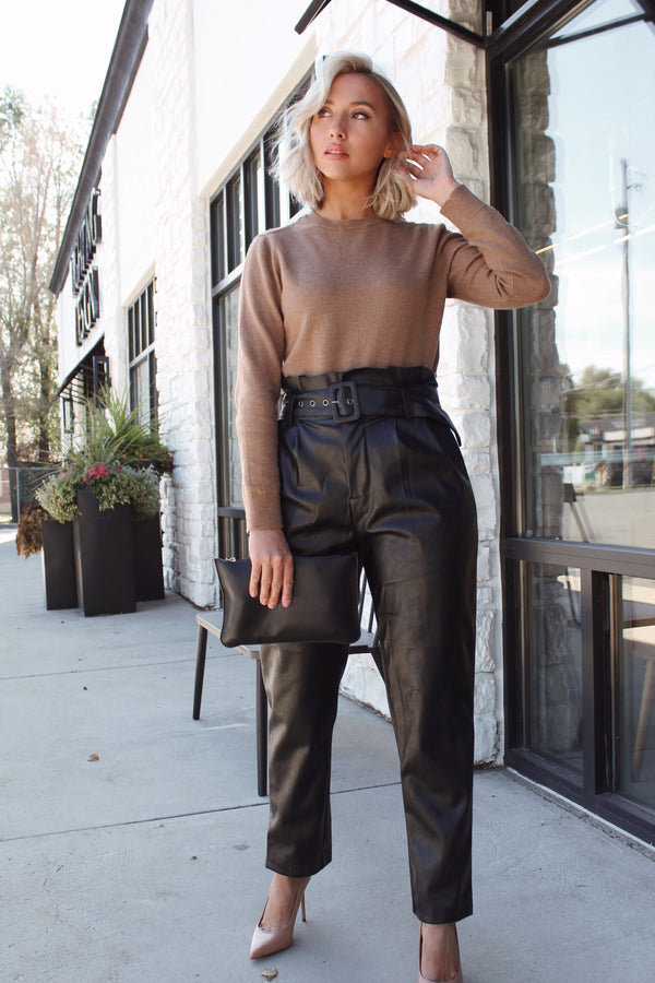 High Waisted Faux Leather Pants