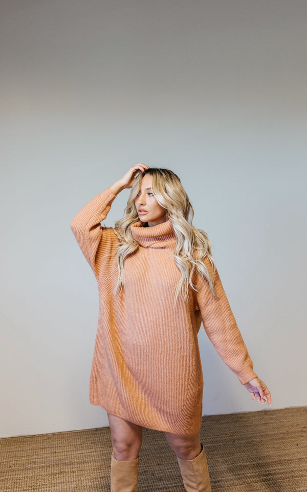 Madison Ribbed Sweater Dress - Clay