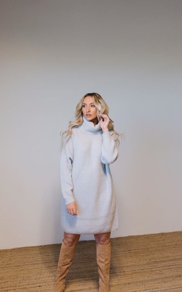 Madison Ribbed Sweater Dress - Grey