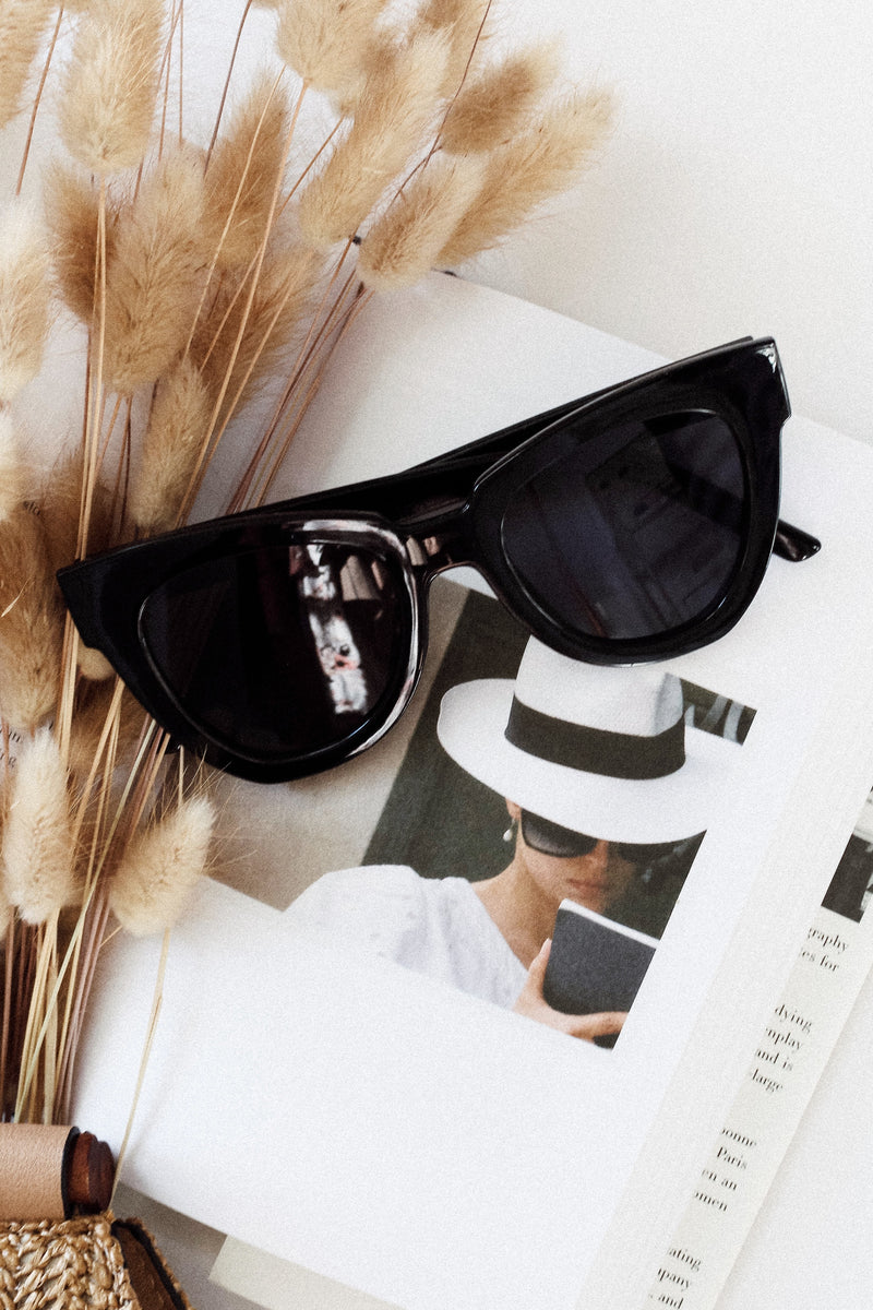 Audrey Black Cat Eye Sunglasses