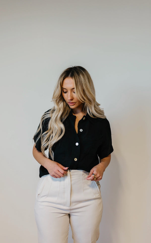 Mia Black Button Down Top