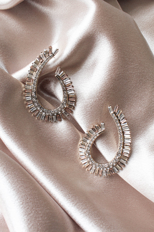 Curved Rhinestone Baguette Hoop Earrings