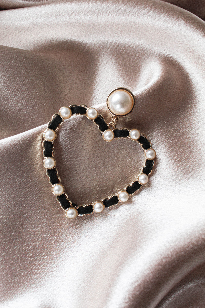 Love Me Pearl Heart Earrings