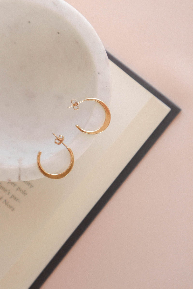 14k Gold Plated Small Crescent Hoop Earrings