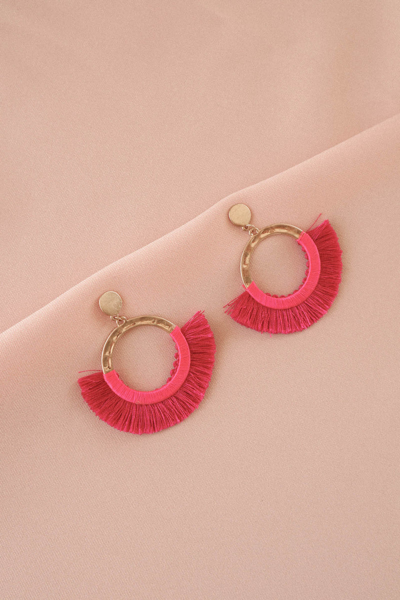 Hot Pink Fringe Earrings