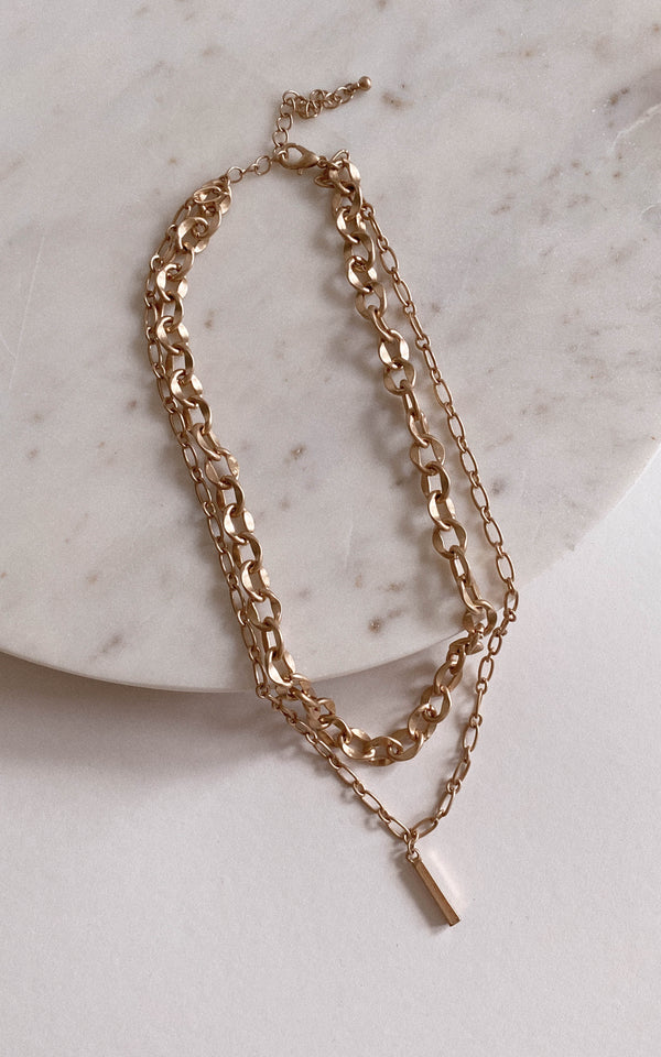 Layered Chain Bar Charm Necklace