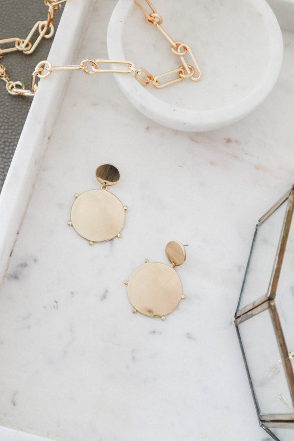 Gold Circle Disc Drop Earrings