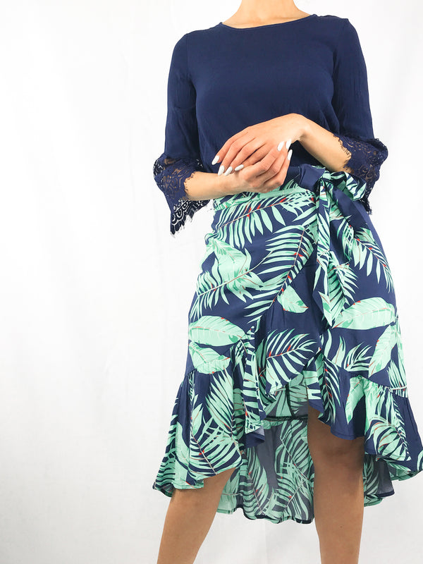 Palm Ruffle Wrap Midi skirt