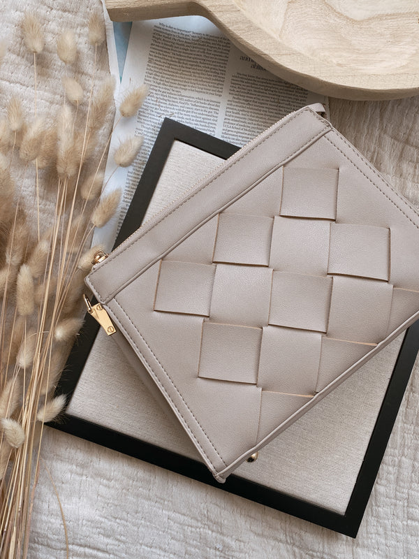 Taupe Cross Woven Crossbody Bag