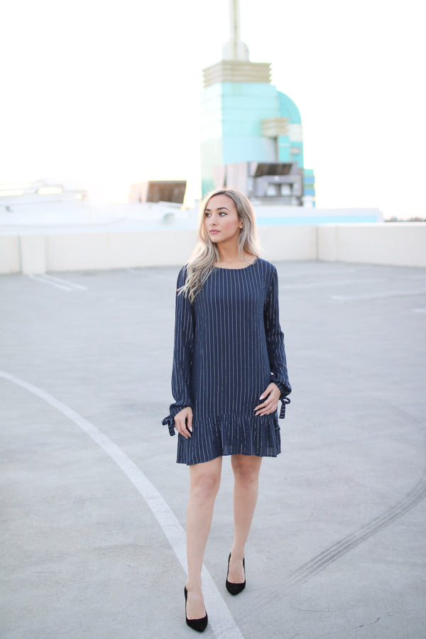 LUNA BLUE STRIPED RUFFLE TRIM SHIFT DRESS