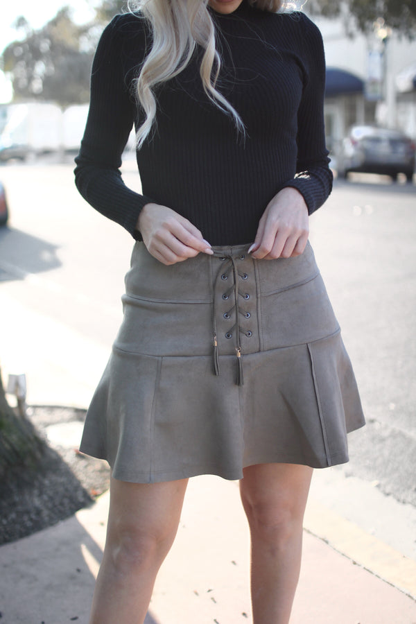 KIRA OLIVE LACE UP SUEDE MINI SKIRT