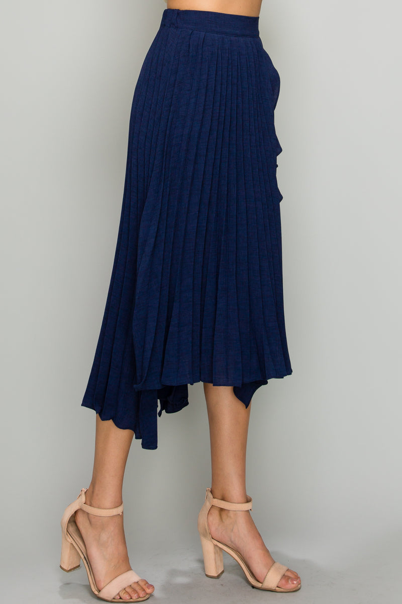 Julia Navy Ruffle Pleated Midi Skirt