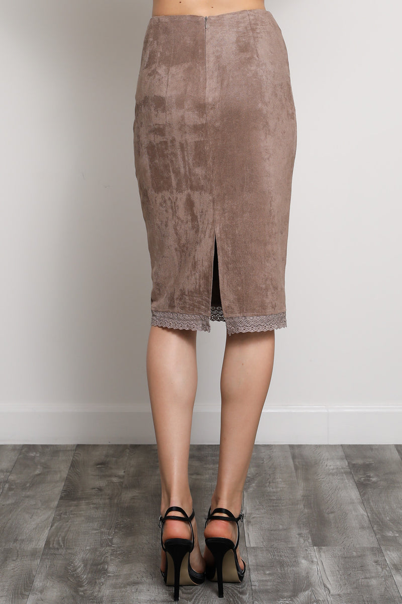 Winona Pearl Suede Pencil Skirt
