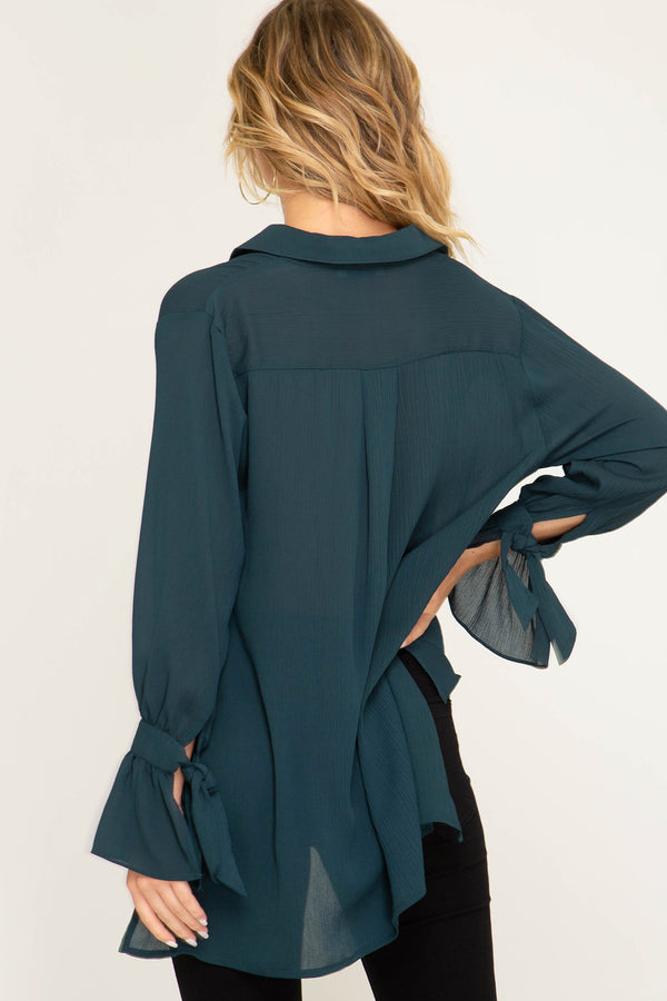 Gemma Emerald Teal Green Collared Sheer Blouse
