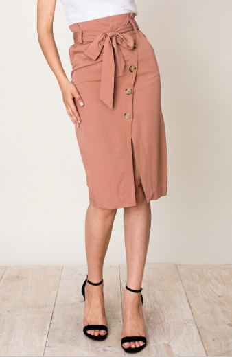 Rachel Dusty Rose High Waisted Wrap Button Skirt