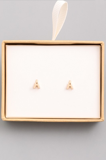 Gold Initial Alphabet Stud Earrings - A