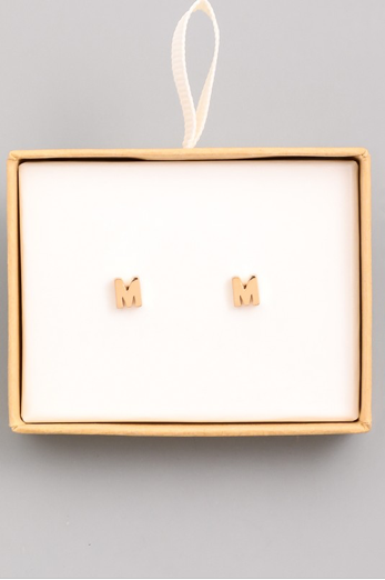 Gold Initial Alphabet Stud Earring - M