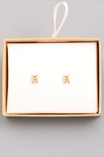 Gold Initial Alphabet Stud Earrings - H