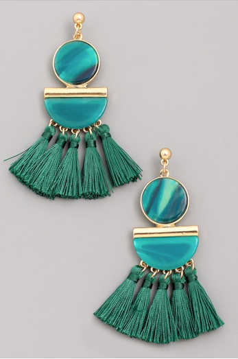 Emerald Green Drop Tassel Earrings