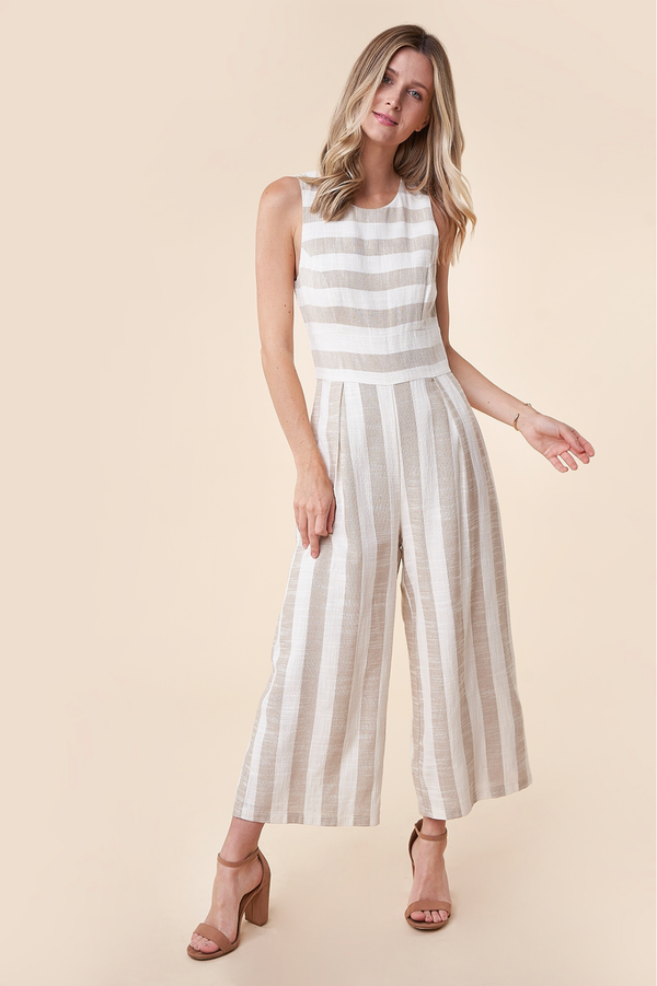 Megan Tan Linen Striped Jumpsuit
