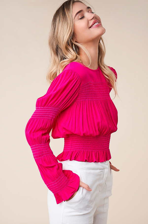 Total Babe Fuschia Long Sleeve Smocked Top