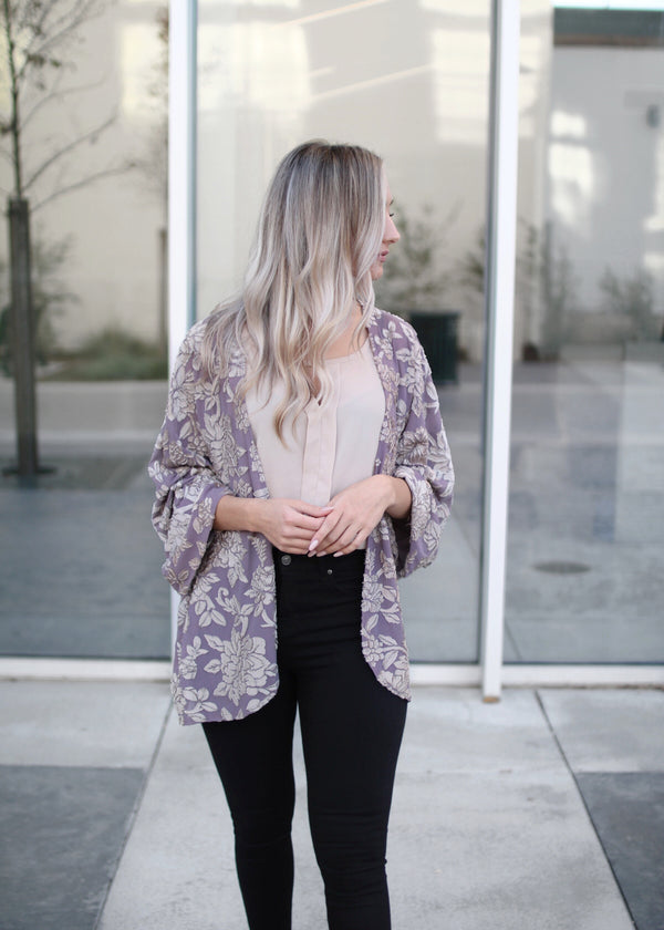 STACY LAVENDER CARDIGAN VELVET BURNOUT