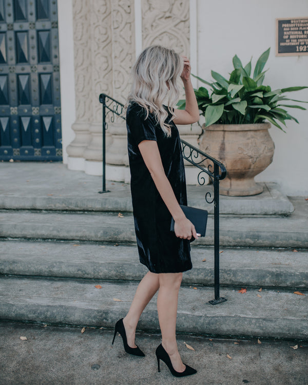 LALA BLACK VELVET DRESS