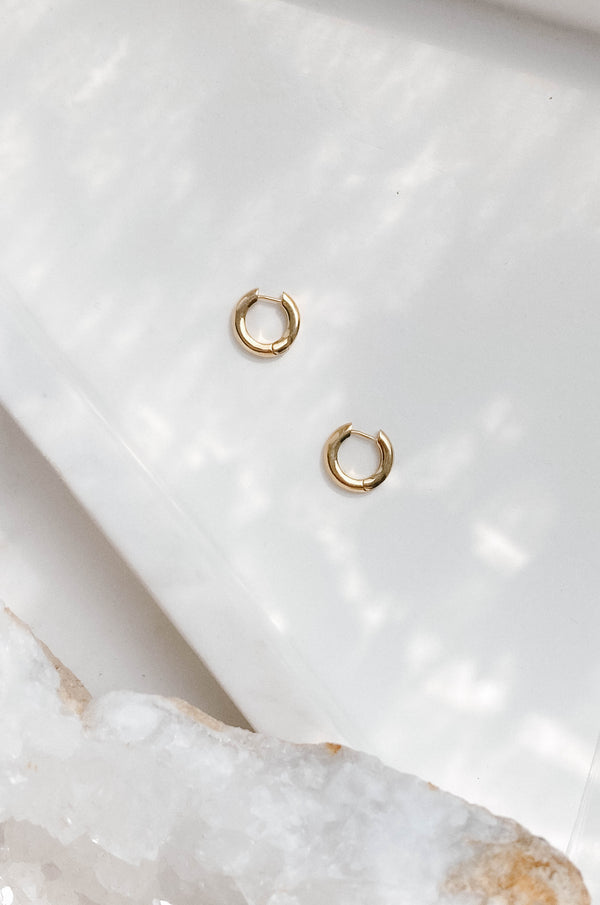 14k gold dipped hypoallergenic mini thick huggie hoops
