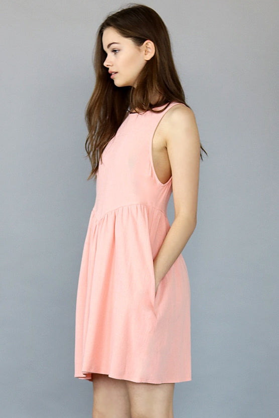 Indie Coral Linen Mini Dress