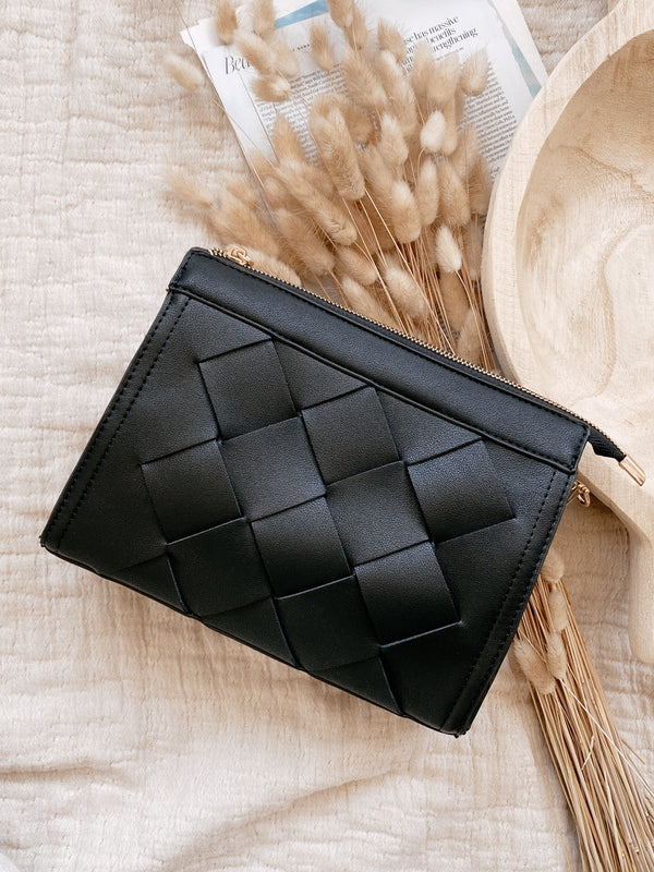 Black Cross Woven Crossbody Bag