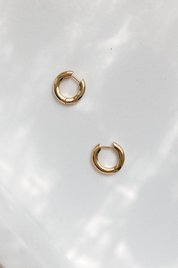 mini 14k gold dipped huggie hoops