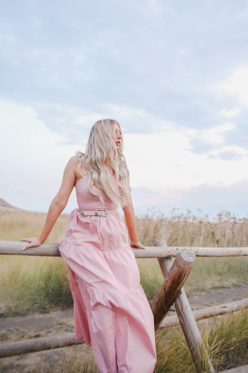 western maxi dress for women in a pink hue