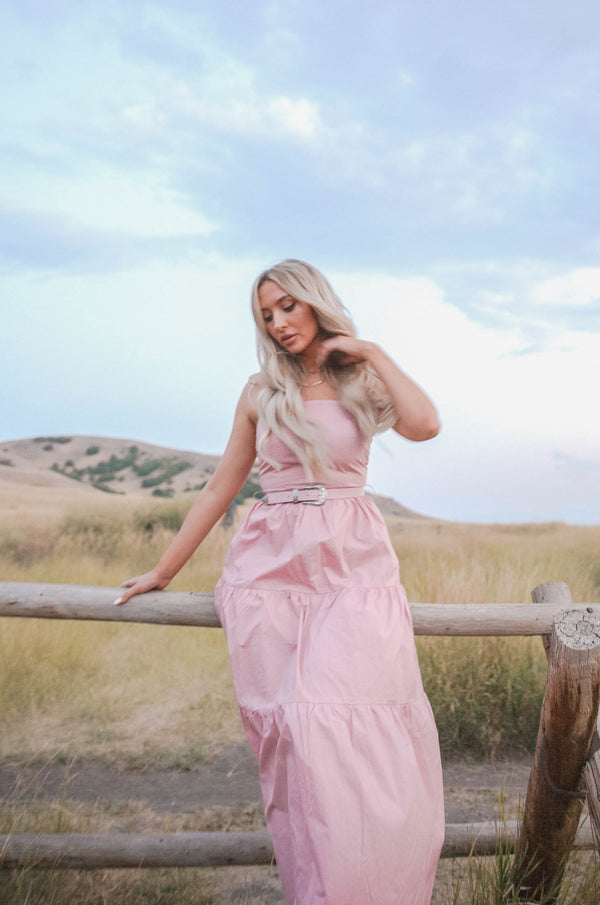 pink maxi Dress with matching belt