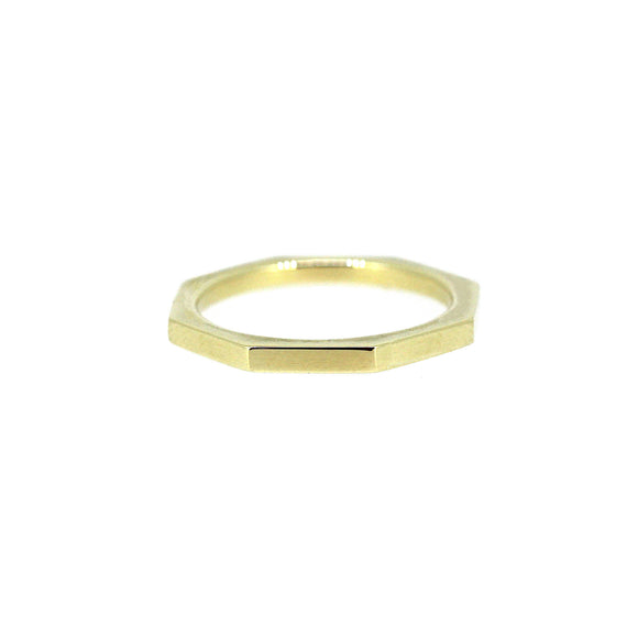 Octagon Gold Stack Ring 14K